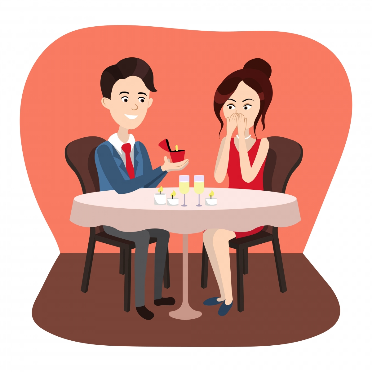 A cartoon of a man's marriage proposal to a woman at a fancy dinner
