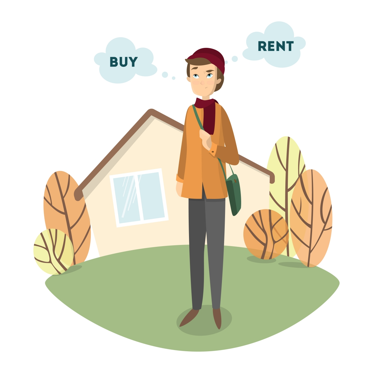 "Cartoon androgynous hipster in front of house with ""buy"" and ""rent"" thought bubbles."