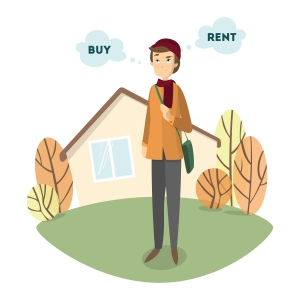 """Cartoon androgynous hipster in front of house with """"buy"""" and """"rent"""" thought bubbles."""