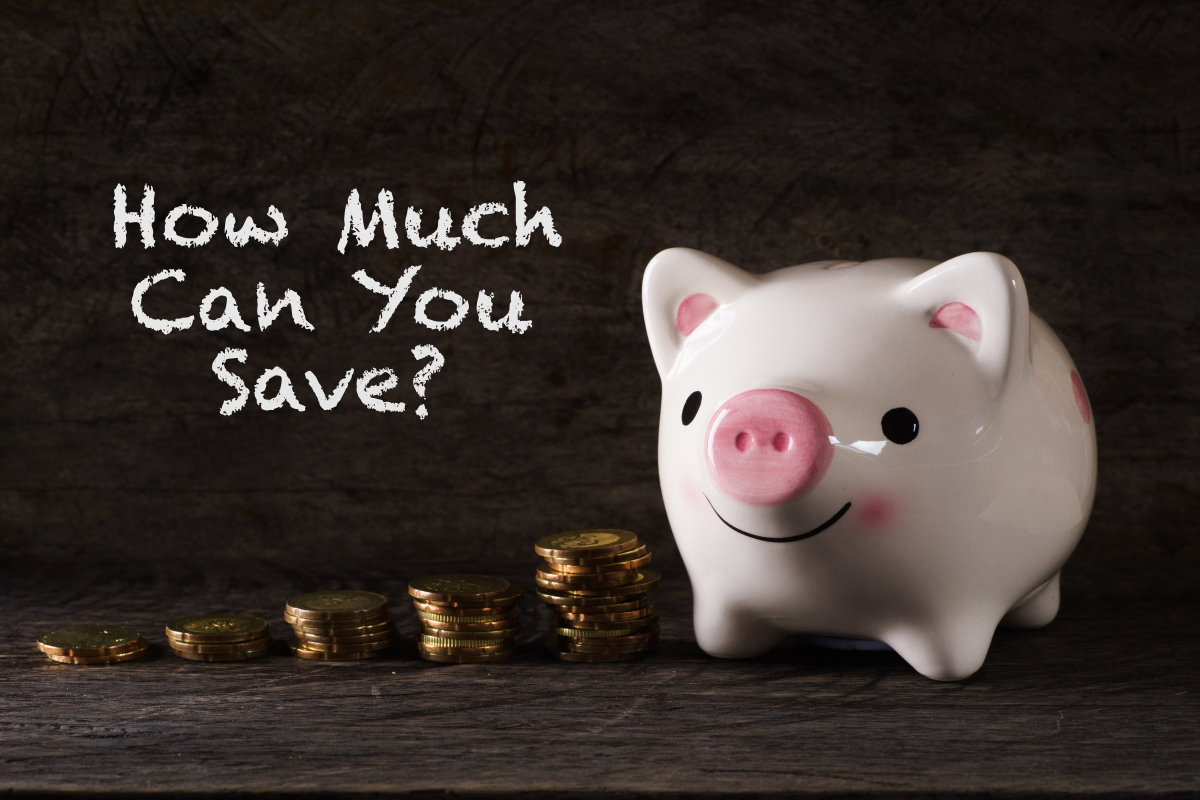 "A piggy bank with the words ""how much can you save"""